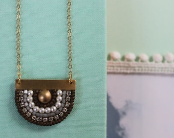 Sunny Pendant: A Modern Bead Embroidery Pendant (Antique Finder Bronze)