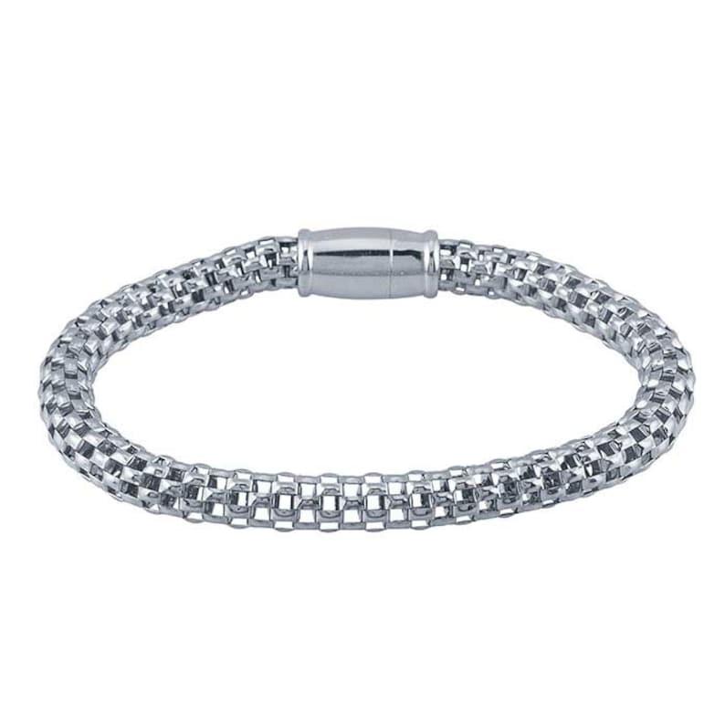 Sterling Silver Rhodium-Plated Open Mesh Bracelet