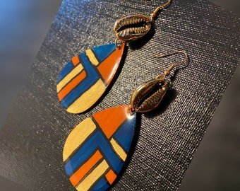 Cowrie Shell Hand Painted Earrings Blue White Black