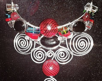 Multi Colored Glass Bead and Bauble Silver Coiled Bib Choker