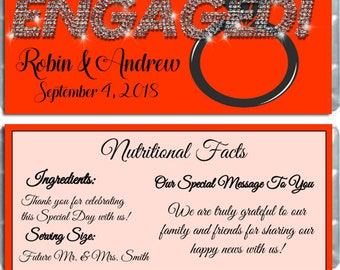 Engagement - Engaged Announcement Chocolate Candy Bar Wrappers Party Favors - Pack of 10