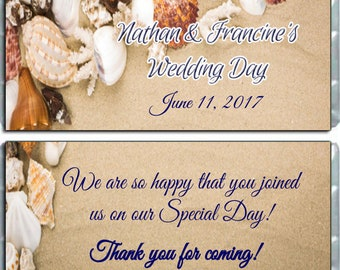 WEDDING SEASHELLS Personalized Candy Bar Wrappers Wedding Favors - Pack of 10