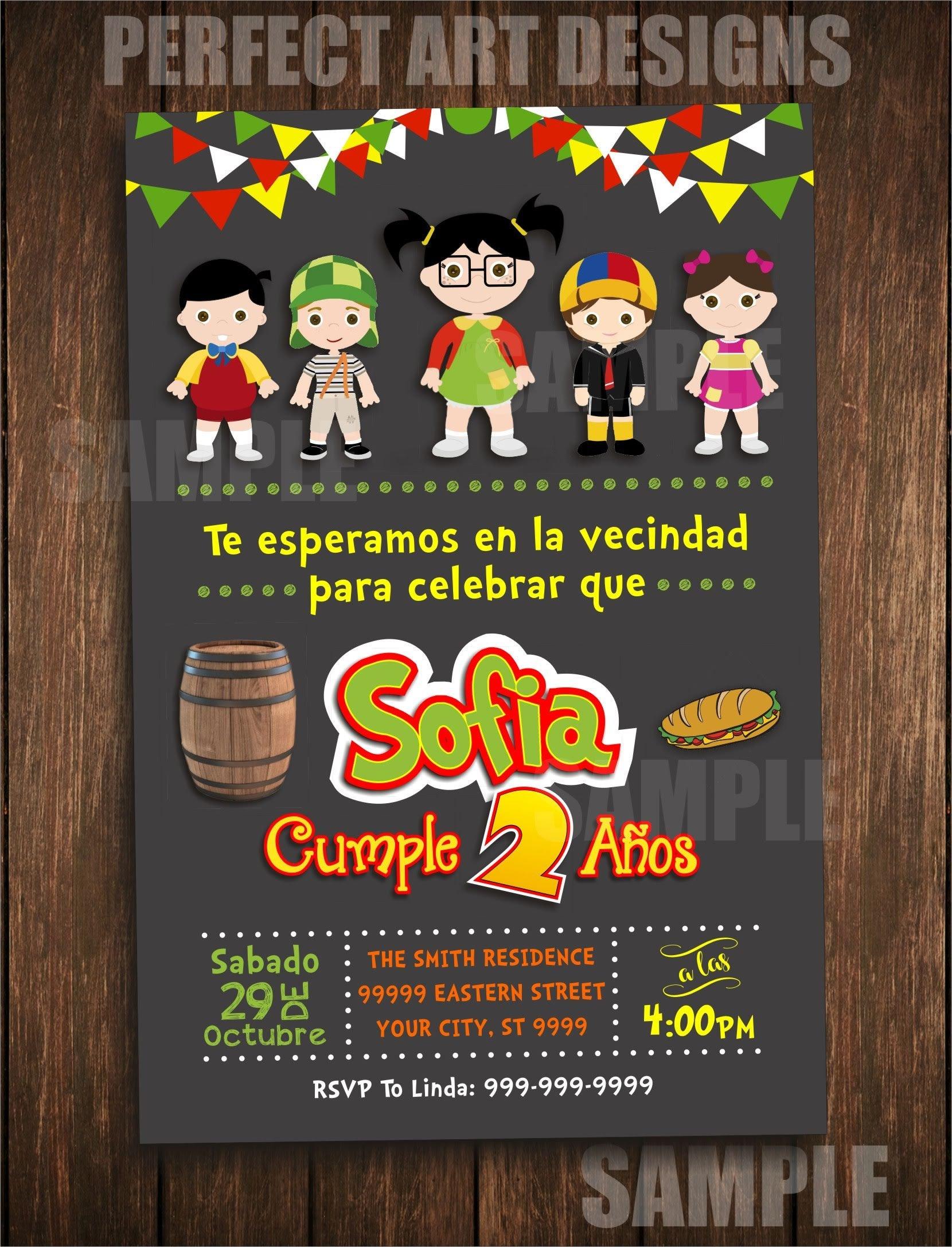 Chilindrina Invitacion Invitation Chavo Del Ocho 8 Printable Digital 1161