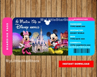 photo relating to Free Printable Disney Tickets identified as Ticket in direction of disney Etsy