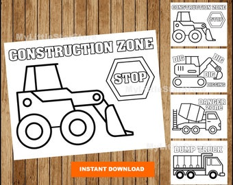 Construction Colouring Pages Party Printable Vehicle Instant Download