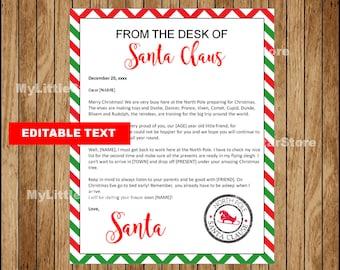 Santa Letter Template Etsy