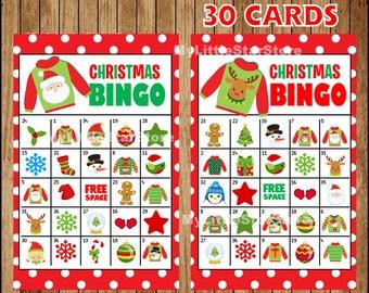 christmas bingo game 30 cards printable christmas bingo cards game for christmas party instant download - Printable Christmas Bingo