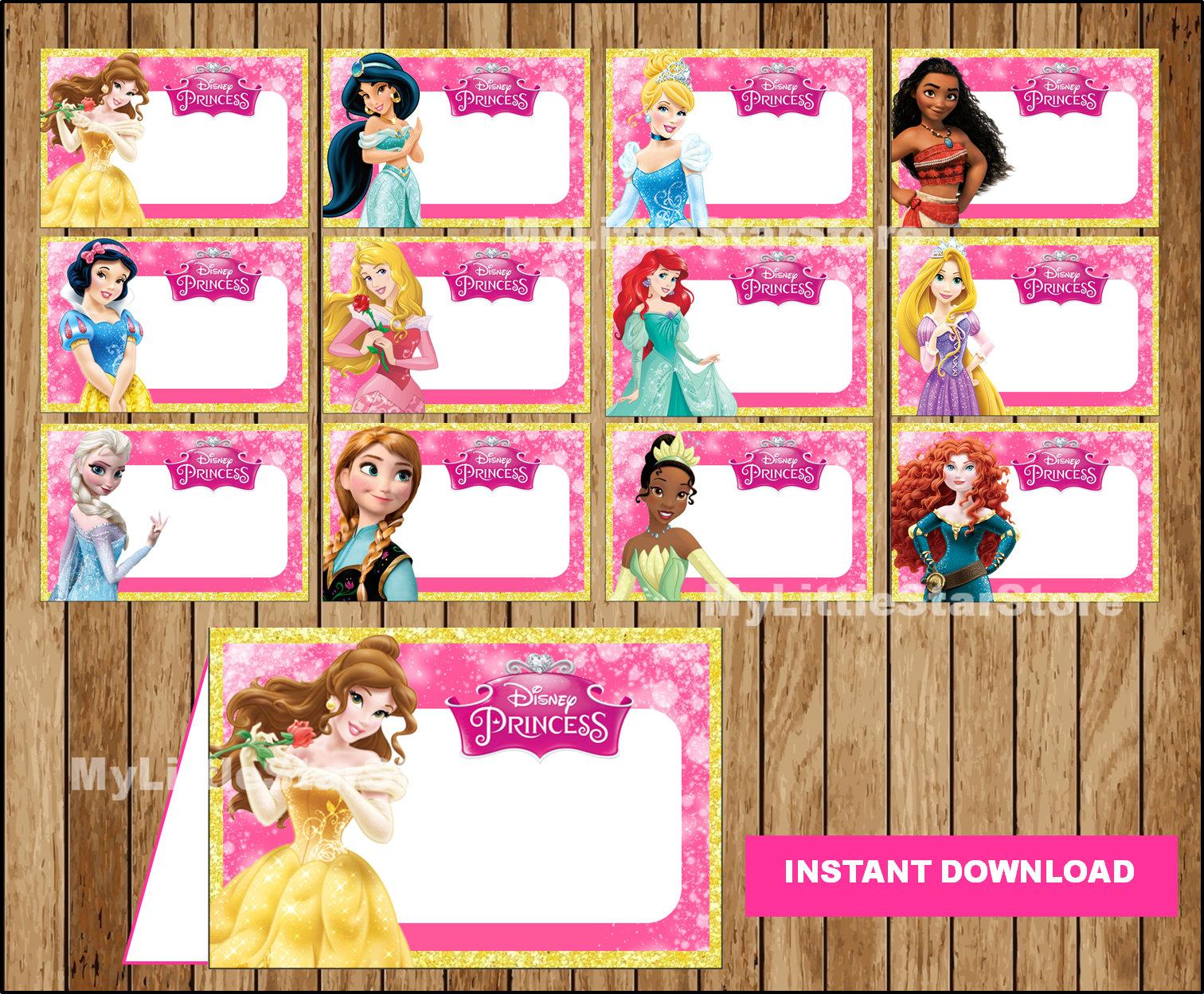 Disney Princess Food Labels Printable Disney Princess Food Tent Cards Disney Princess Party Food Labels Instant