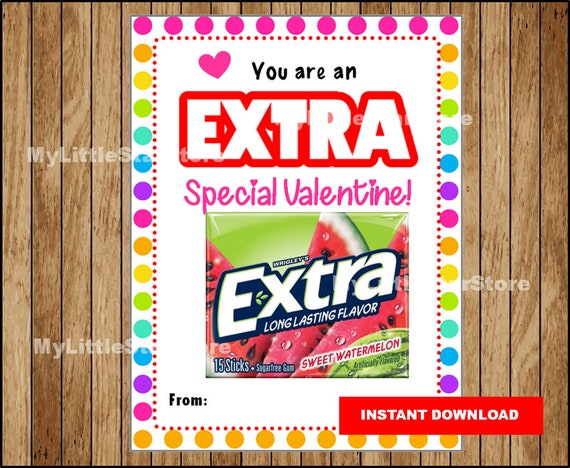 It is an image of Gratifying Extra Gum Valentine Printable