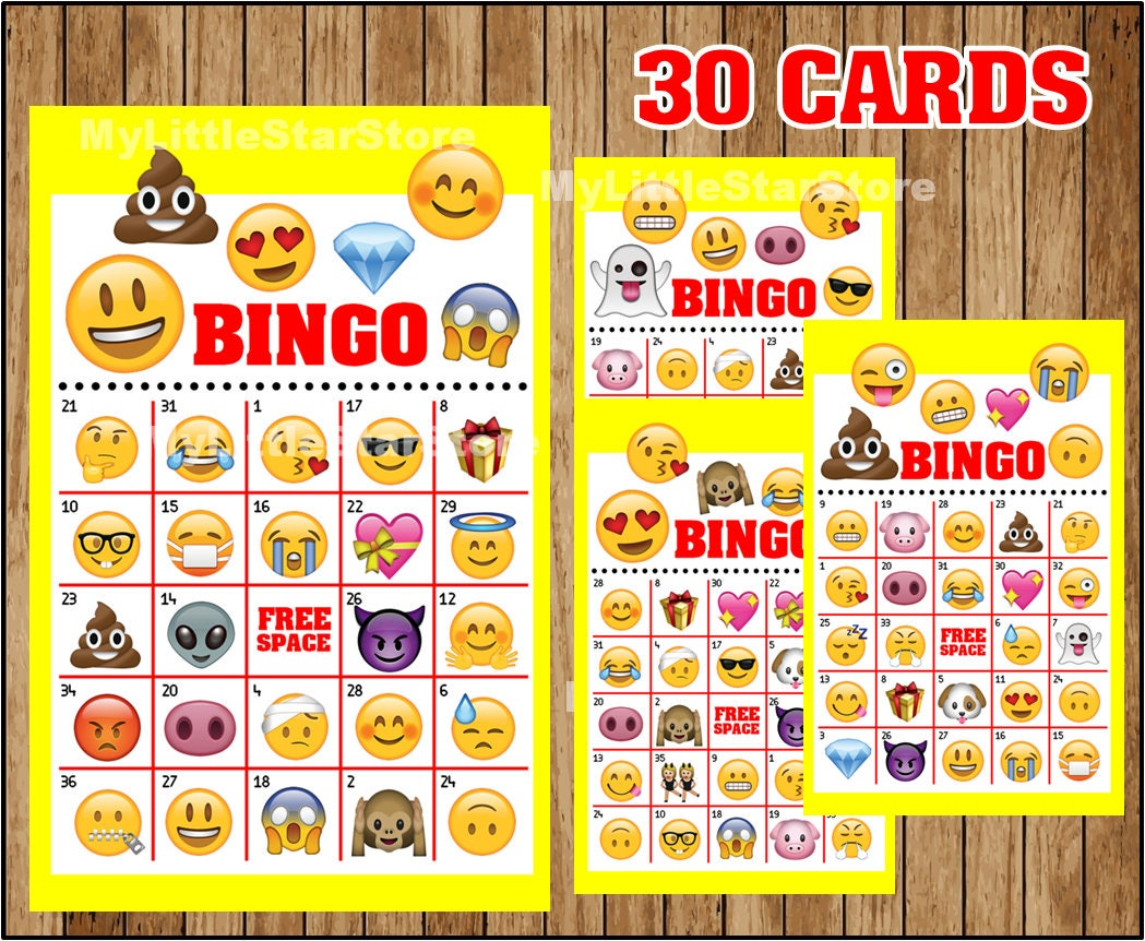 Emoji Bingo 30 Cards Printable Emoji Bingo Game Emoji Party Etsy