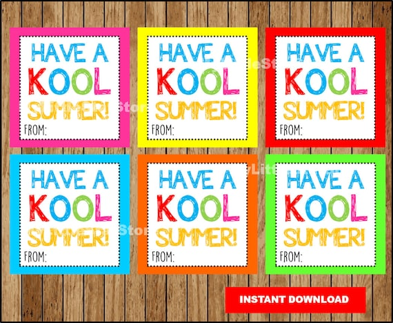 picture about Have a Kool Summer Printable named Finish of the college 12 months Tags, Printable Include a Kool Summer time Reward Tags, Kool Summer season card Instantaneous down load