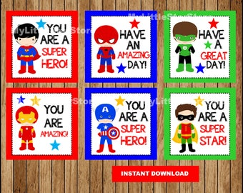 Superhero lunch Box Notes for Kids, Lunchbox Note cards , Printable Super hero Lunch box note Instant download