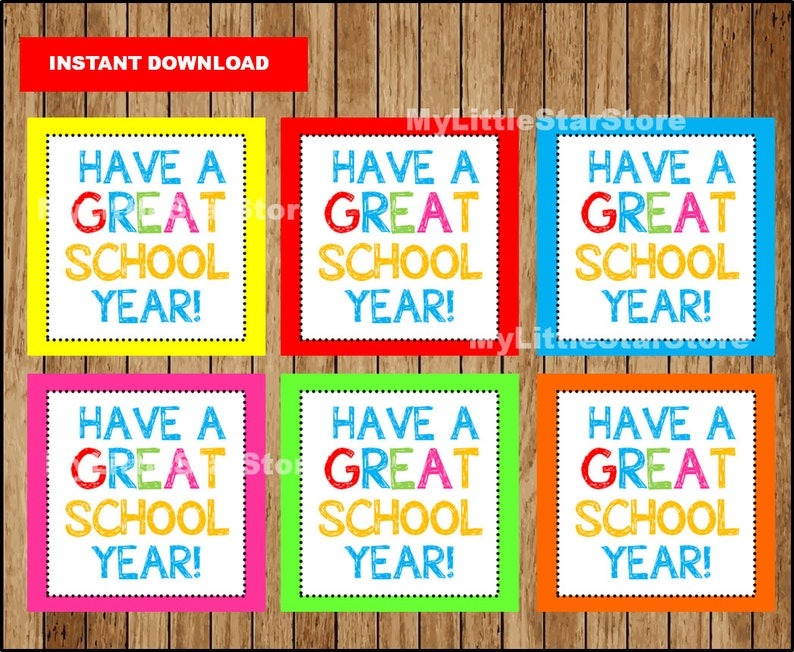 School printable tags, Teacher gift tags, school gift tags, Have A Great  School Year Tags Instant download