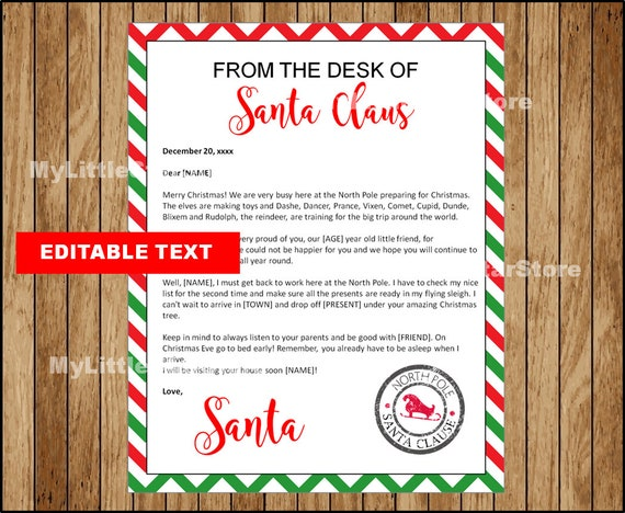 picture relating to Santa Letter Template Printable known as Editable Letter in opposition to Santa, Printable Xmas Santa Letter Template, Xmas Letter, Letter against Santa Editable Words Fast down load