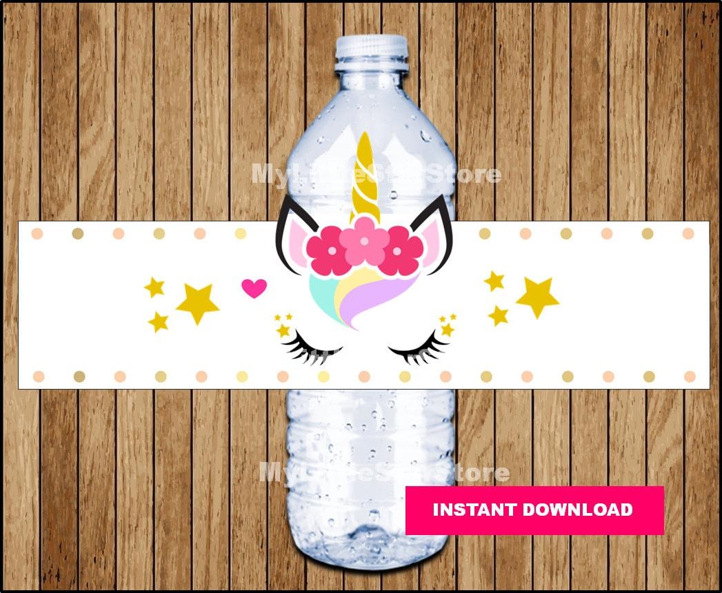 Unicorn Water Bottle Labels Printable Unicorn Water Labels