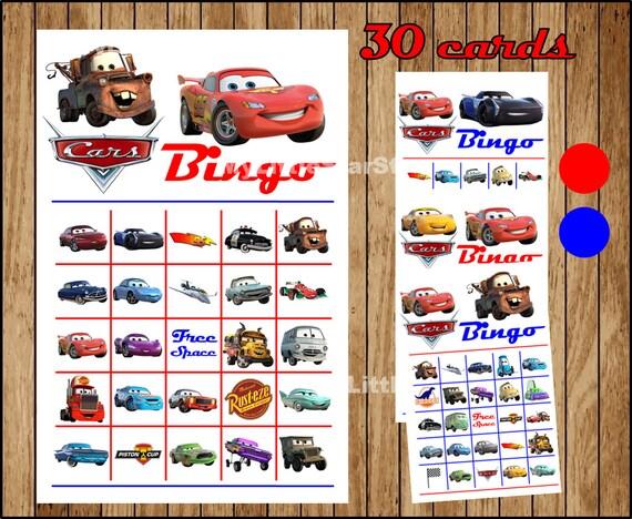 Cars Bingo 30 Cards, Printable Cars Bingo game, Disney Cars 3 printable  Bingo cards Instant download