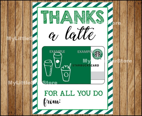 photo about Printable Gift Card Holder called Printable Present Card Holder, Instructor Appreciation Present, Starbucks Present Card Holder, Due a Latte Thank By yourself Card Fast obtain