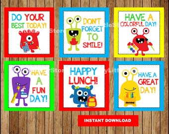 School lunch Box Notes for Kids, Lunchbox Note cards , Printable Monster Lunch notes Instant download