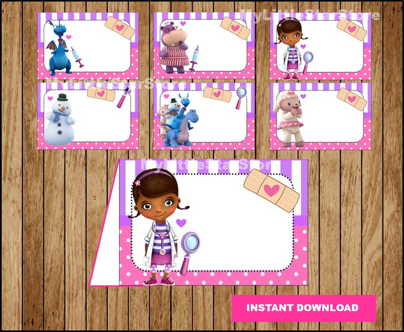 graphic about Printable Doc Mcstuffins named Document McStuffins Food stuff labels, Printable Document McStuffins Foods tent playing cards, Document McStuffins get together Foodstuff labels Prompt obtain
