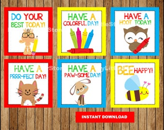 Back to school Lunch Box Notes for Kids, Lunch Notes cards , Funny Lunch Notes Printable Instant download