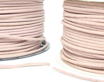 Soft pink cork cord, vegan cord, portuguese cork cord, sold by meter 3mm and 5mm cord