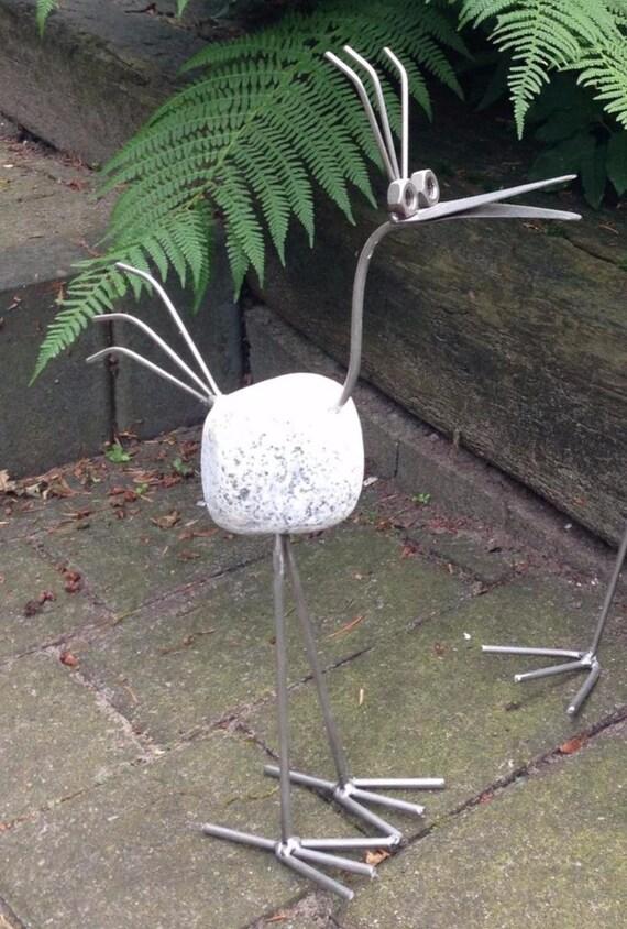 gartendekoration edelstahl, steinvogel edelstahl gartendekoration klein | etsy, Design ideen