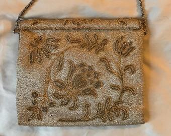 vintage silver sparkly patterned purse
