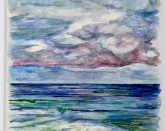 A4 Watercolour Painting Original /  Rainbow Skies Seascape