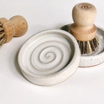 Scrub Brush Holder • Catch All Dish  • Jewelry Dish • Wheel Thrown Pottery • White OR Speckled