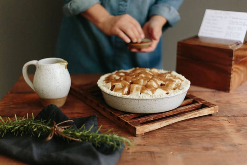 DISCOUNTED White Speckled Pie Pan With Lip 10 Inch Ceramic image 0