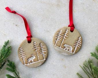 Moose & Bear Ornaments / Forest Animals / Handmade Ornament / White Pottery Ornament / Ceramic Ornament / Christmas Trees / Farmhouse