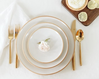 White Dinnerware Set / Pottery Dinnerware / Ceramic Plates / Handmade Pottery / Stoneware Plates / Farmhouse / French Country