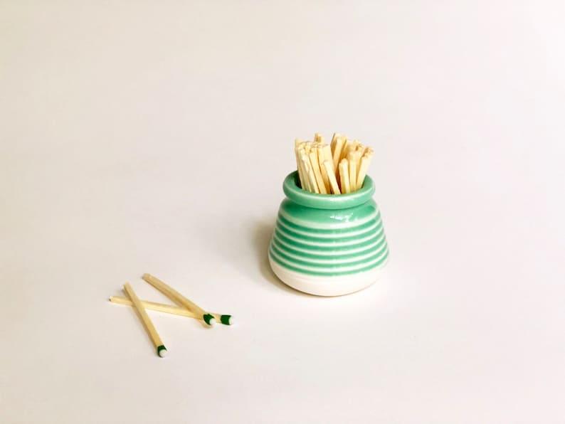 Mint Green Match Striker / Handmade Pottery / Match Holder / image 0