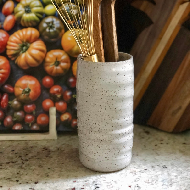 White Speckled Organic Shaped Vase / Trunk Vase / Tall Crock / image 0