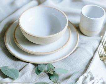 LIMITED EDITION Handmade Pottery Dishes, White Plate Settings With Unglazed Rim, Pottery, Stoneware, Ceramic Dinnerware Sets
