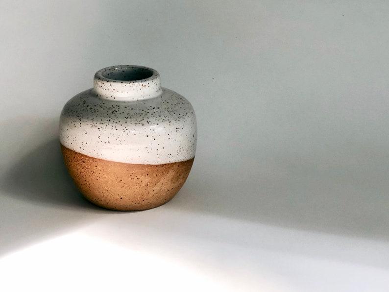 White Speckled Bud Vase / Small Vase / Handmade Pottery / image 0