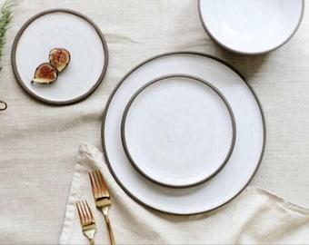 Handmade Pottery Dishes, Black & White Plate Settings, Pottery, Stoneware, Ceramic Dinnerware Sets