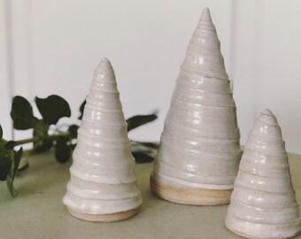 White Christmas Trees / Ceramic Trees / Handmade Pottery / Farmhouse Decor / French Country / Wabi-Sabi