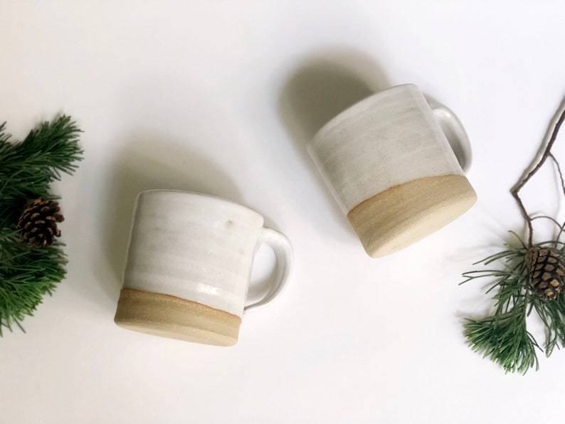 SET OF TWO White Mugs / Coffee Mugs /Tea Mugs / Handmade Mug image 0