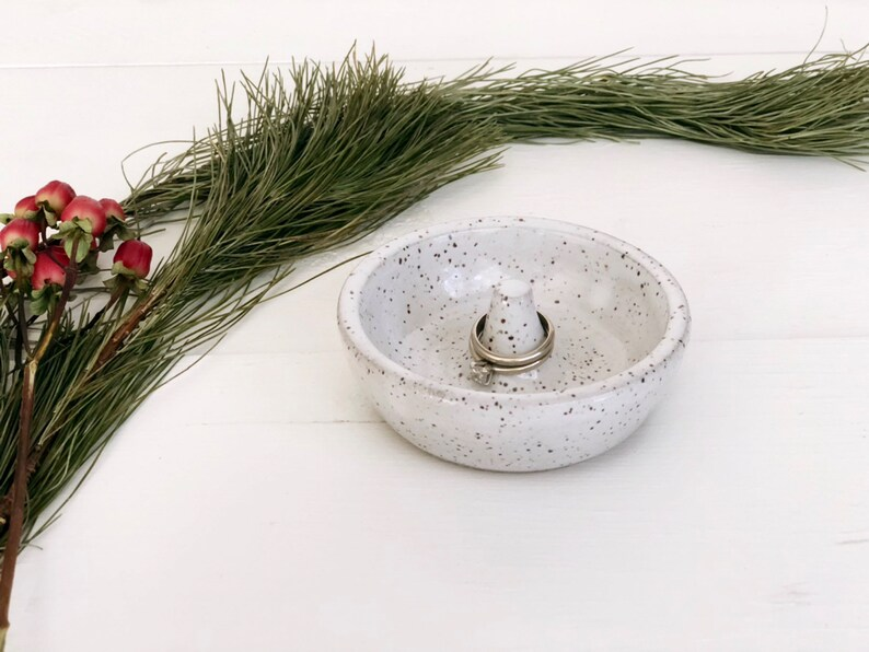 White With Speckles Ceramic Ring Holder Jewelry Dish Rustic image 0