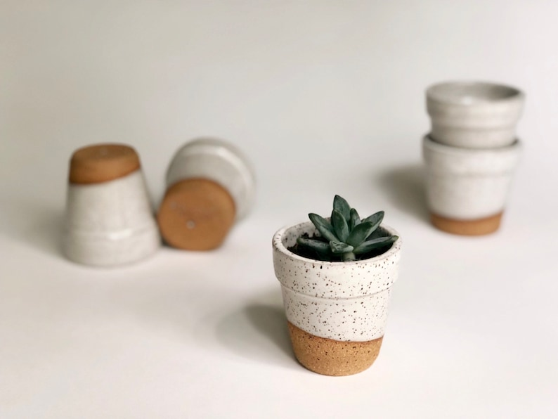 White Speckled Succulent Pot With Drainage Hole/ Handmade image 0