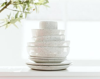 Speckled Dinnerware Set / Pottery Dinnerware / Ceramic Plates / Handmade Pottery / Stoneware Plates / Farmhouse / Wabi Sabi