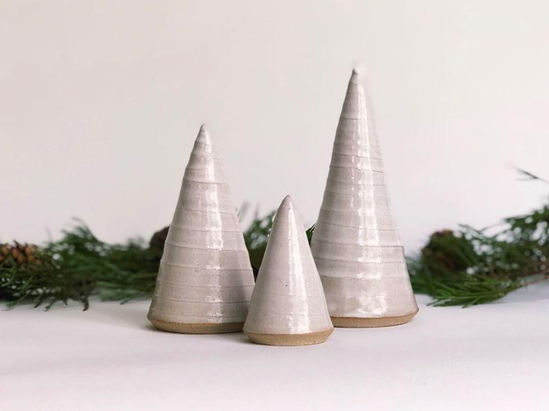 White Christmas Tree Set / Ceramic Trees / Handmade Pottery / image 0