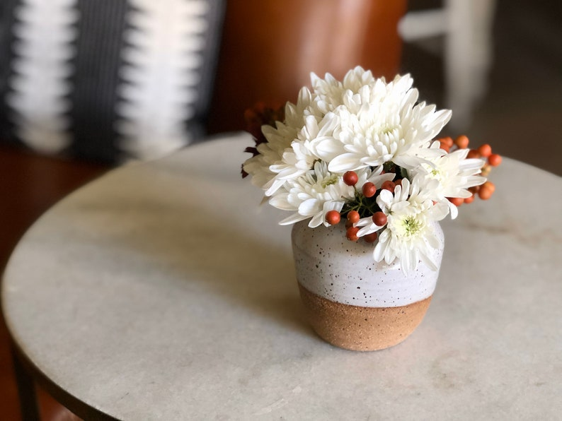 White Speckled Bud Vase / Small Vase / Succulent Pot / image 0