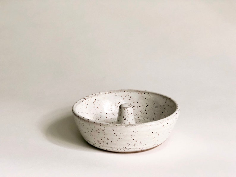 LARGE Jewelry Dish White With Speckles Ceramic Ring Holder image 0