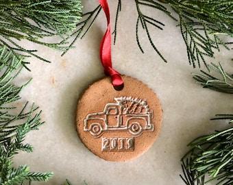 2019 Speckled Ornament / Handmade Ornaments / White Pottery / Ceramic Ornament / Farmhouse / French Country /