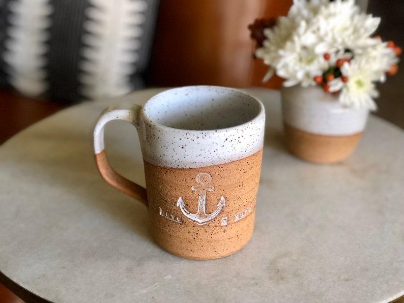 White Speckled Coffee  Tea Mug  Handmade Mug  Wabi-Sabi image 0
