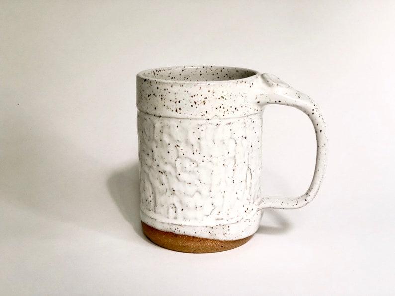 White Speckled Coffee / Tea Mug  Large 16 Ounce Mug / image 0