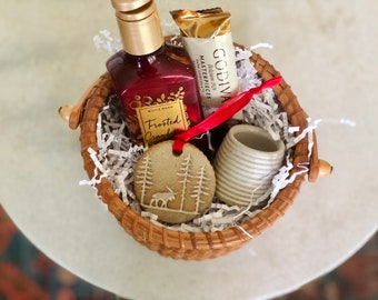 Holiday Gift Basket / White Pottery Match Striker / Handmade Ornament / Bath & Bodyworks frosted cranberry soap / Godiva chocolate