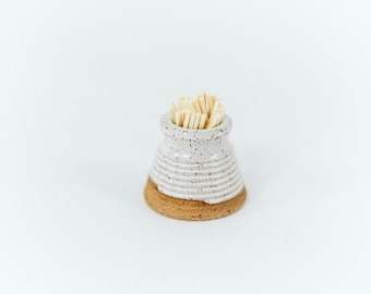 Match Striker - White Speckled  / Handmade / White Pottery / Match Holder / Toothpick Holder / Farmhouse / French Country /